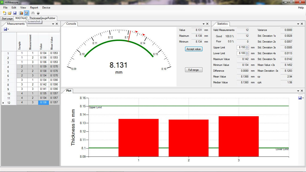 HilMeasure Software for Thickness Gauge HTG-A